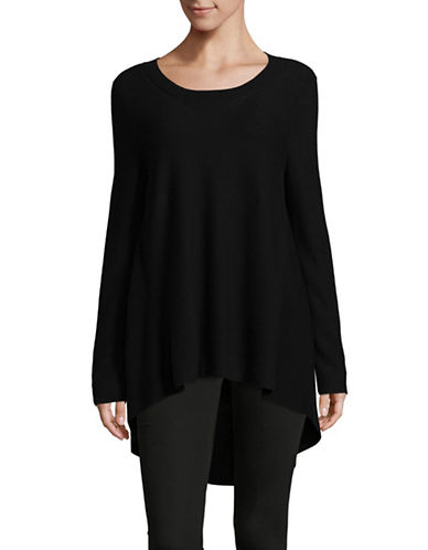 Eileen Fisher Links Cotton Tunic Sweater-BLACK-X-Small