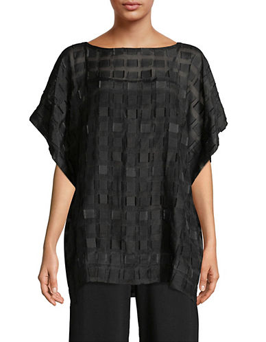 Eileen Fisher Silk Square Boatneck Top-BLACK-Small