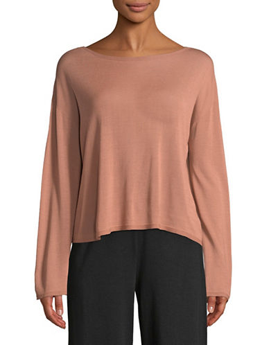 Eileen Fisher Knit Boatneck Top-TOFFEE-Small