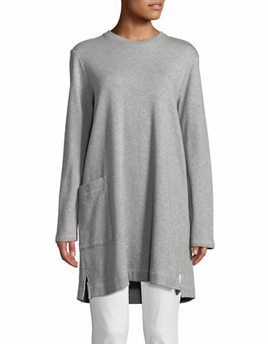 Eileen Fisher Organic Cotton Crew Neck Tunic-GREY-X-Small