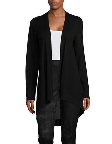 Eileen Fisher Open Front Wool-Blend Cardigan-BLACK-X-Large