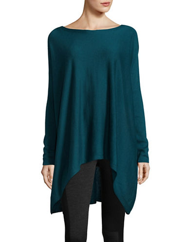 Eileen Fisher Bateau Neck Asymmetric Tunic-BLUE-Large