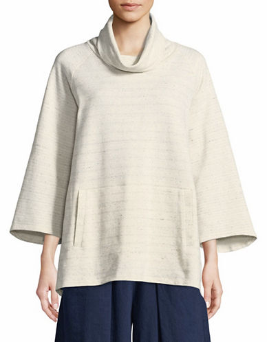 Eileen Fisher Speckled Funnelneck Pullover-PEARL-Medium
