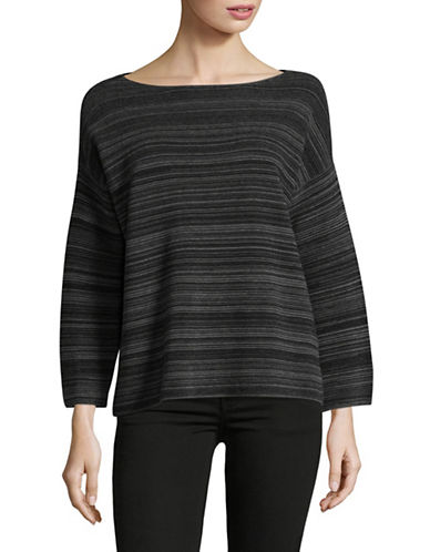 Eileen Fisher Bateau Neck Striped Top-BLACK-Medium