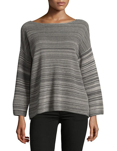 Eileen Fisher Bateau Neck Striped Top-MAPLE OAT-Medium