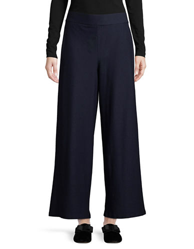 Eileen Fisher Stretch Crepe Wide-Leg Ankle Pants-MIDNIGHT-Large