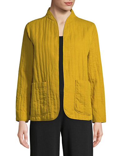 Eileen Fisher High Neckline Soft Quilt Jacket-YELLOW-X-Small