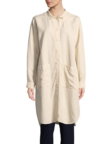 Eileen Fisher Button Down Shirt Dress-BONE-Small