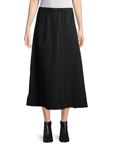 Eileen Fisher Side Button Skirt-BLACK-X-Large