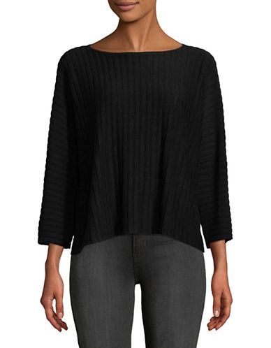 Eileen Fisher Knit Striped Pullover-BLACK-Small