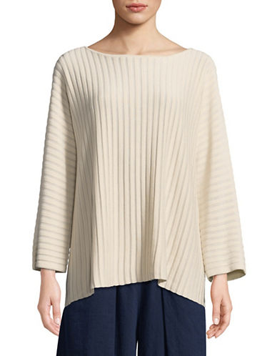 Eileen Fisher Knit Striped Pullover-SOFT WHITE-X-Small