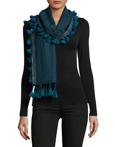 Eileen Fisher Tasseled Shimmer Wool Scarf-BLUE-One Size