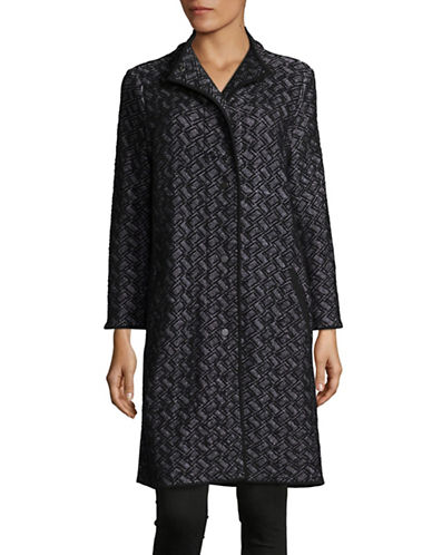 Eileen Fisher Trellis Funnel Knit Jacket-BLACK-X-Small