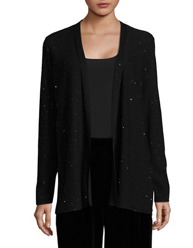 Eileen Fisher Merino Wool Twinkle Cardigan-BLACK-Large 89634053_BLACK_Large