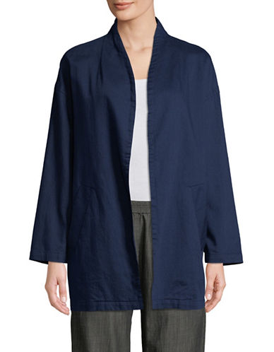 Eileen Fisher Open Front Organic Cotton Jacket-MIDNIGHT-Large