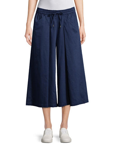 Eileen Fisher Cropped Wide Leg Pants-MIDNIGHT-Large