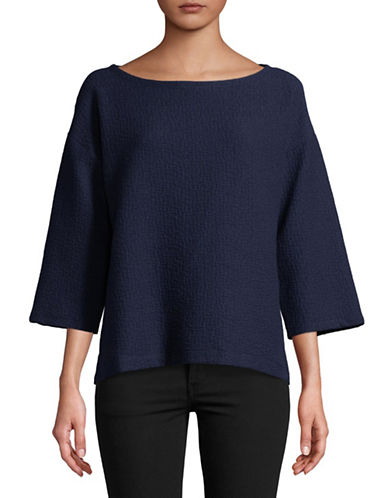 Eileen Fisher Textured Boatneck Box Top-MIDNIGHT-Small