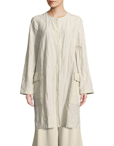 Eileen Fisher Roundneck Tunic Jacket-CREAM-Large