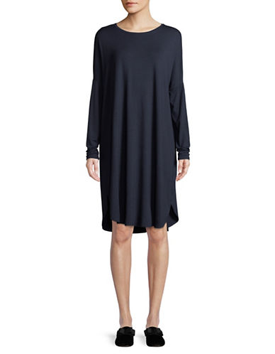 Eileen Fisher Long-Sleeve Jersey Shift Dress-NAVY-X-Small