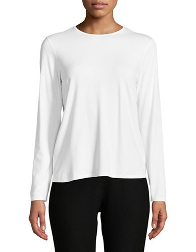 Eileen Fisher Crew Neck Long-Sleeve Top-WHITE-Medium