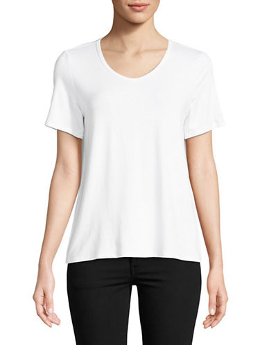 Eileen Fisher Scoopneck Tee-WHITE-X-Small