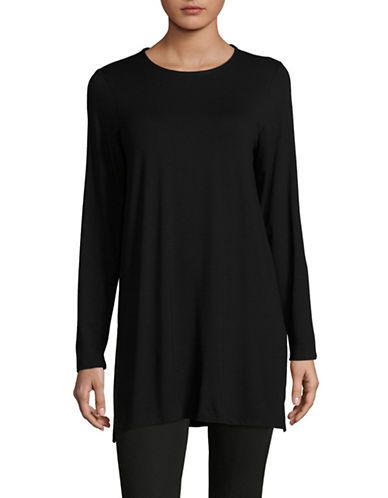 Eileen Fisher Long Jersey Tunic-BLACK-X-Large