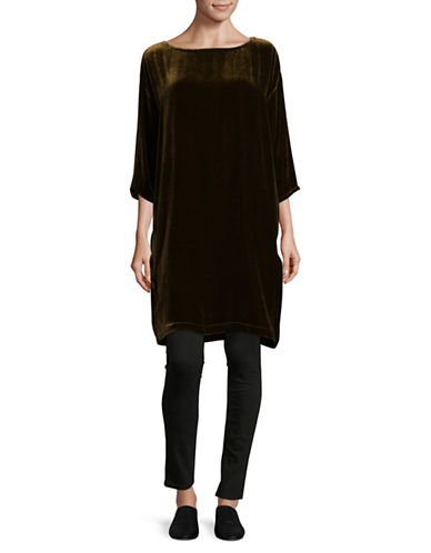 Eileen Fisher Short Velvet Sheath Dress-SERPENTINE-X-Small