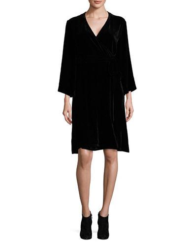 Eileen Fisher Velvet Wrap Dress-BLACK-Medium