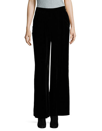 Eileen Fisher Velvet Wide-Leg Pants-BLACK-Large