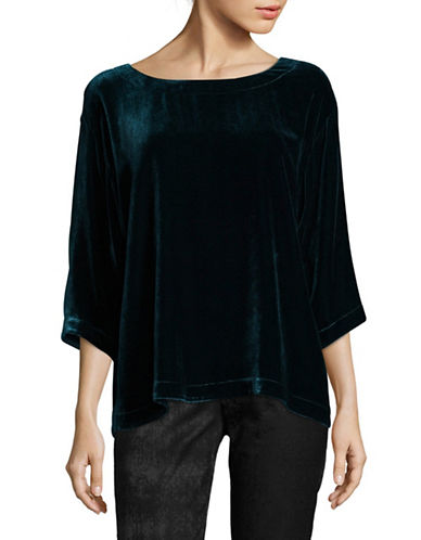 Eileen Fisher Velvet Box Top-BLUE-X-Large