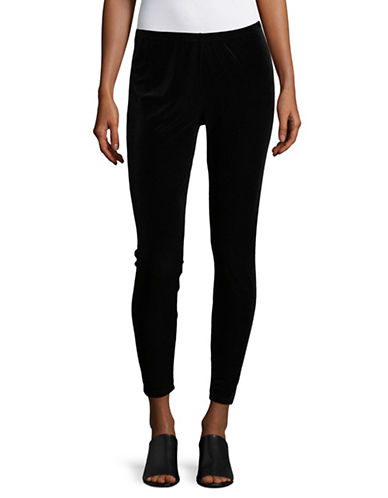 Eileen Fisher Stretchy Velvet Ankle Leggings-BLACK-Large