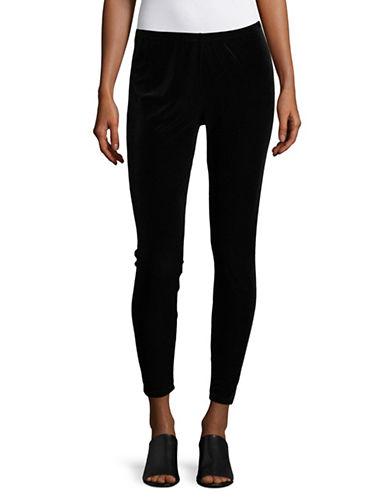 Eileen Fisher Stretchy Velvet Ankle Leggings-BLACK-X-Large