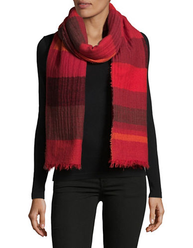 Eileen Fisher Building Blocks Plaid Scarf-LAVA-One Size