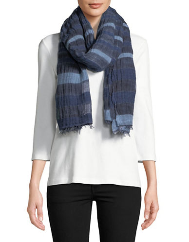 Eileen Fisher Wool-blend Striped Scarf-MIDNIGHT-One Size