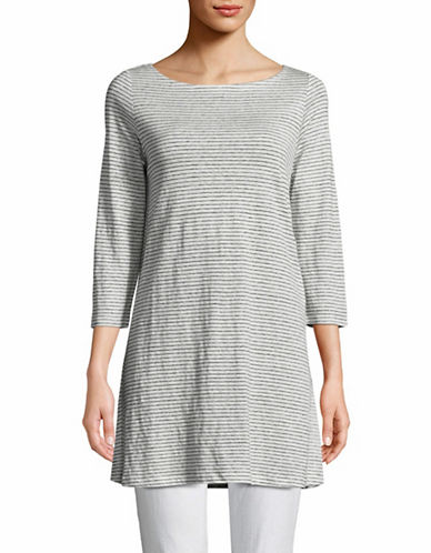 Eileen Fisher Striped Organic Linen Tunic-WHITE-X-Large