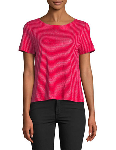 Eileen Fisher Striped Linen Crop Top-STRAWBERRY-Medium