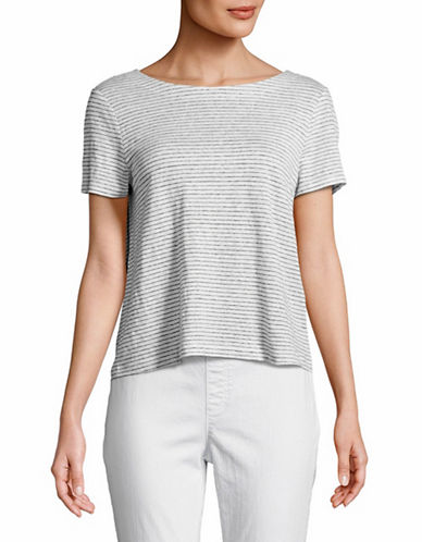 Eileen Fisher Striped Linen Crop Top-WHITE-Large