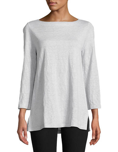 Eileen Fisher Striped Organic Linen Top-GREY-X-Small 89778253_GREY_X-Small
