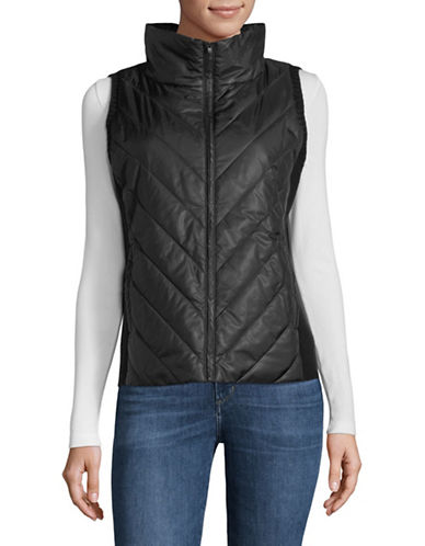 Eileen Fisher Recycled High Collar Vest-BLACK-X-Small