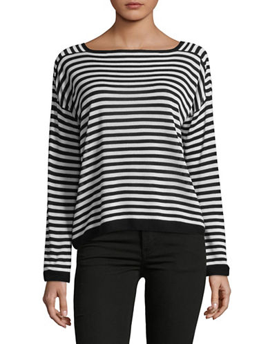 Eileen Fisher Ribbed Boat Neck Top-BLACK/WHITE-X-Large