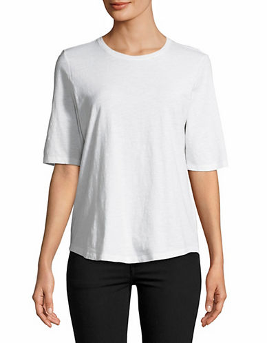 Eileen Fisher Organic Cotton Roundneck Tee-WHITE-Medium