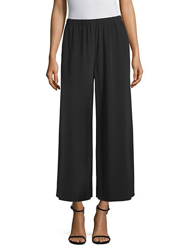 Eileen Fisher Wide-Leg Cropped Pants-BLACK-Medium 90128619_BLACK_Medium