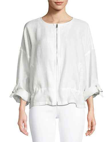Eileen Fisher Zip Front Linen Jacket-WHITE-X-Large 90071716_WHITE_X-Large