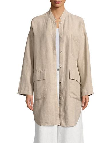 Eileen Fisher Mandarin Collar Linen Jacket-NATURAL-Medium 90071719_NATURAL_Medium