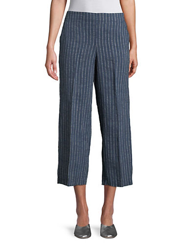Eileen Fisher Linen Wide Leg Cropped Pants-BLUE-Medium 90071796_BLUE_Medium