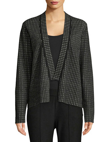 Eileen Fisher Silk and Organic Cotton-Blend Knit Cardigan-BLACK-Small 90002270_BLACK_Small
