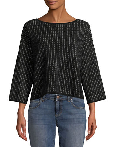 Eileen Fisher Silk and Organic Cotton-Blend Knit Top-BLACK-X-Large 90002278_BLACK_X-Large