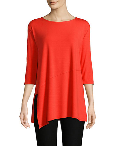 Eileen Fisher Asymetric Jersey Tee-RED-X-Small 90002364_RED_X-Small