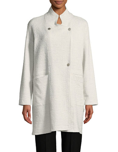 Eileen Fisher Stand Collar Jacket-WHITE-X-Large 90002388_WHITE_X-Large