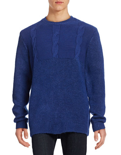 Cheap Monday Deprived Crew Neck Sweater-BLUE-Small